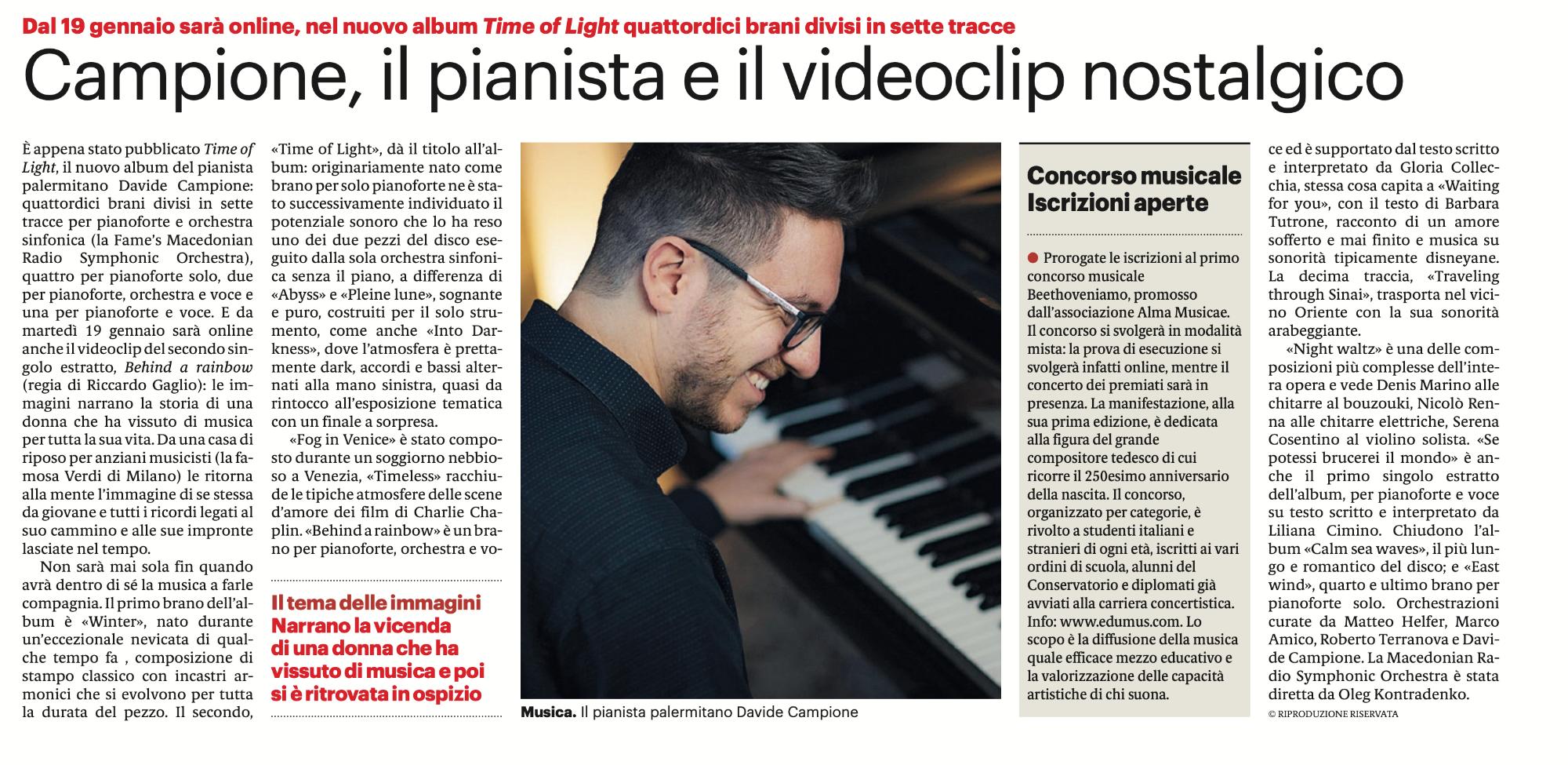 Campione, il pianista e il videoclip nostalgico